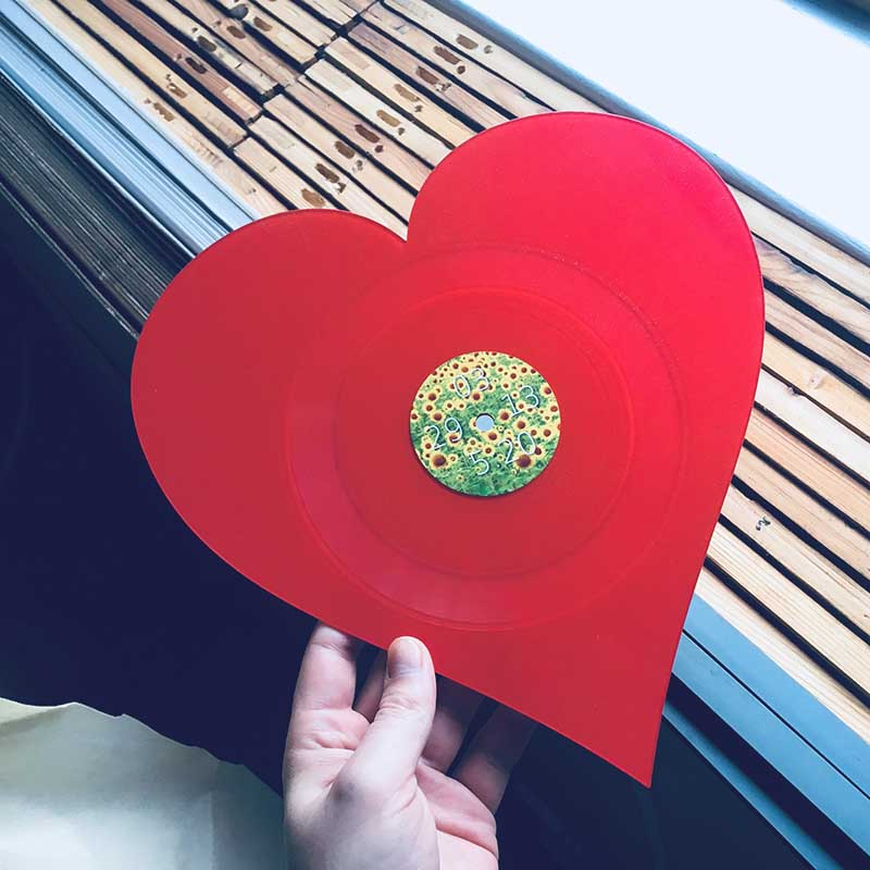 heart shaped vinyl record w/label
